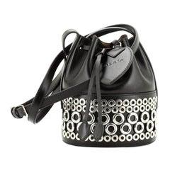 Alaia Drawstring Bucket Bag Grommet Embellished Leather Mini