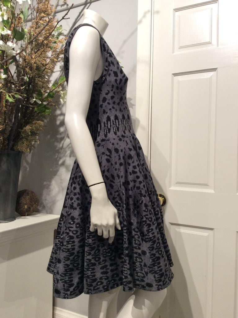 Alaïa Fit and Flare Circle Skirt Sleeveless, Soft Rose Panthere Knit Dress, 4 In New Condition For Sale In San Francisco, CA