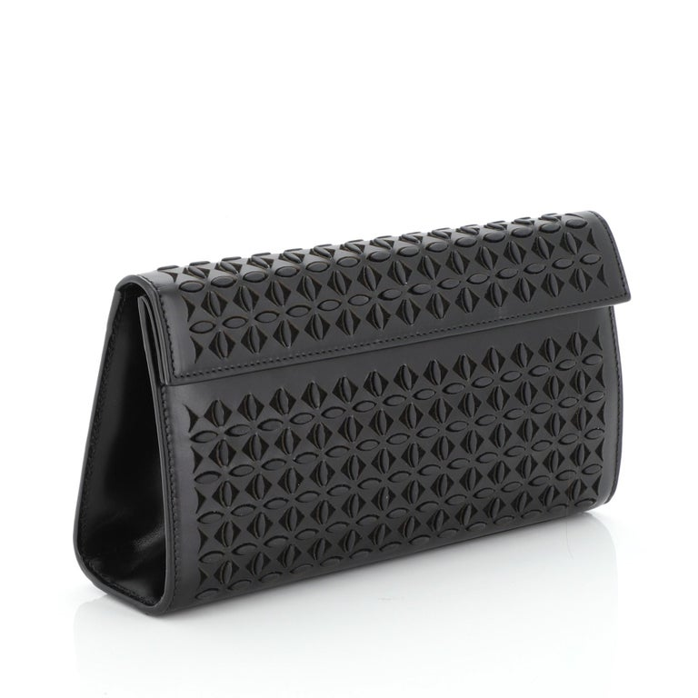 Black Alaia Flap Clutch Laser Cut Leather Small
