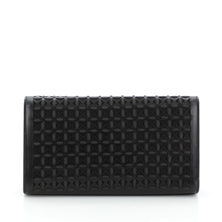 Alaia Flap Clutch Laser Cut Leather Small In Good Condition In New York, NY