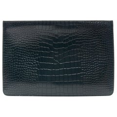 ALAIA forest green faux stamped crocodile leather top zip clutch pouch bag