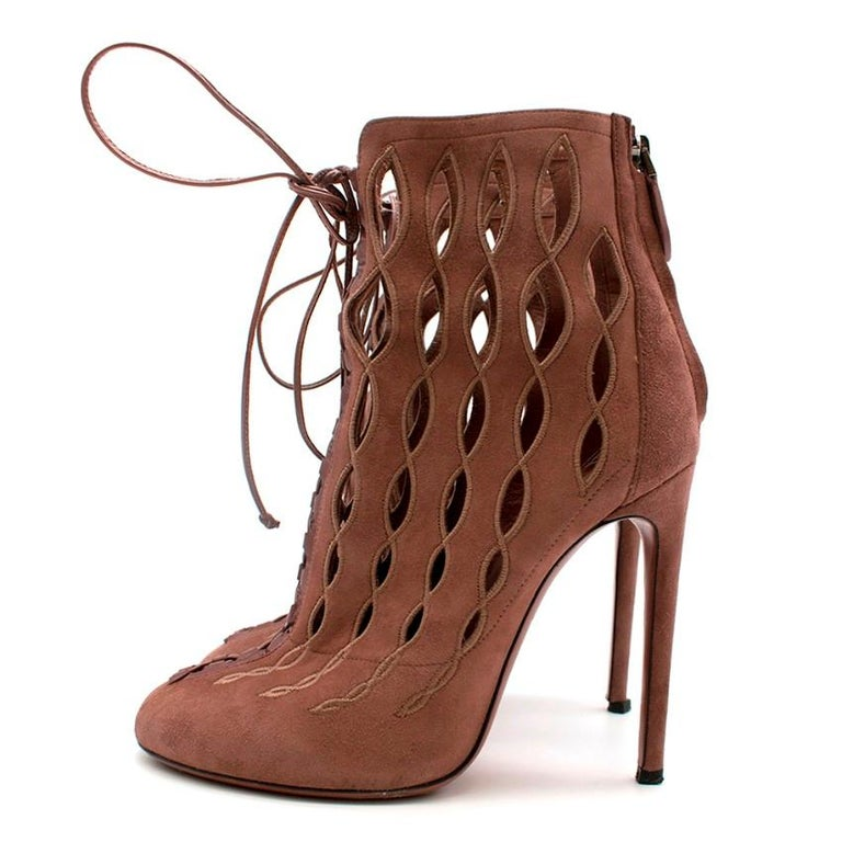 Alaia Goatskin Stiletto Lasercut Ankle Boots 38 For Sale 1