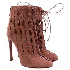 Alaia Goatskin Stiletto Lasercut Ankle Boots 38