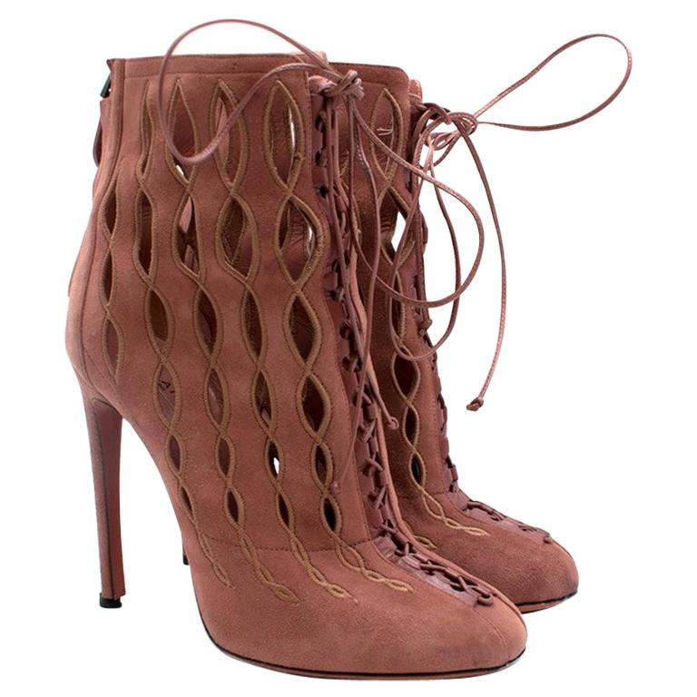 Alaia Goatskin Stiletto Lasercut Ankle Boots 38 For Sale