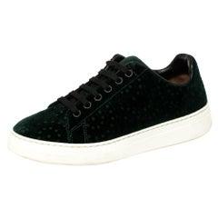 Alaia Green Velvet Laser Cut Lace Up Sneaker Size 36