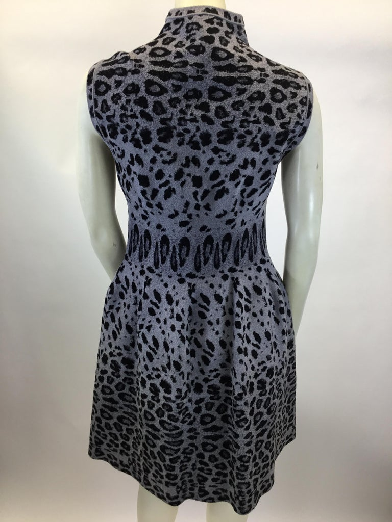 Alaia Grey and Black Animal Print Zip Up Dress In Excellent Condition For Sale In Narberth, PA
