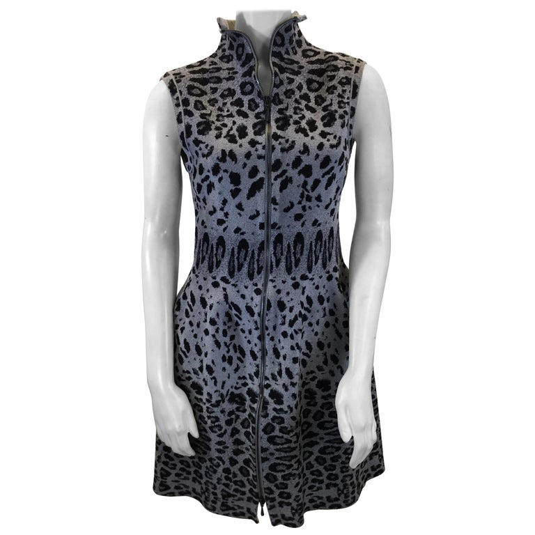 Alaia Grey and Black Animal Print Zip Up Dress For Sale