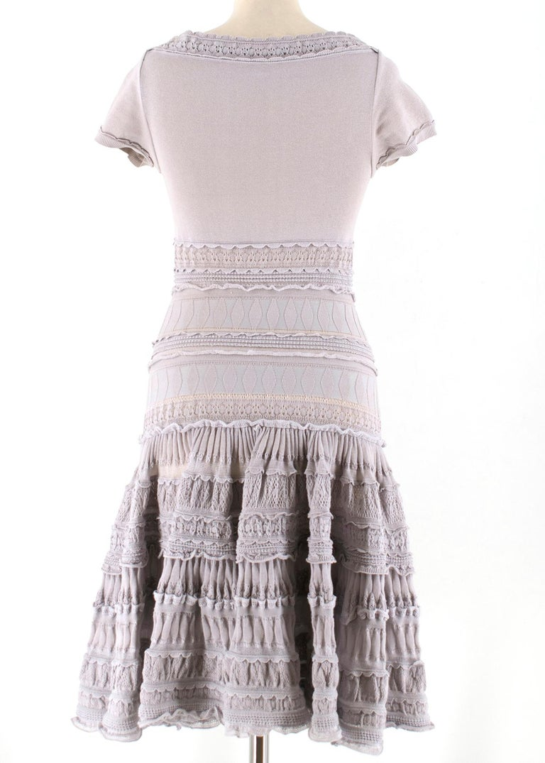Alaia Grey Fit & Flare Ruffle Trim Dress XS 36 In Excellent Condition For Sale In London, GB