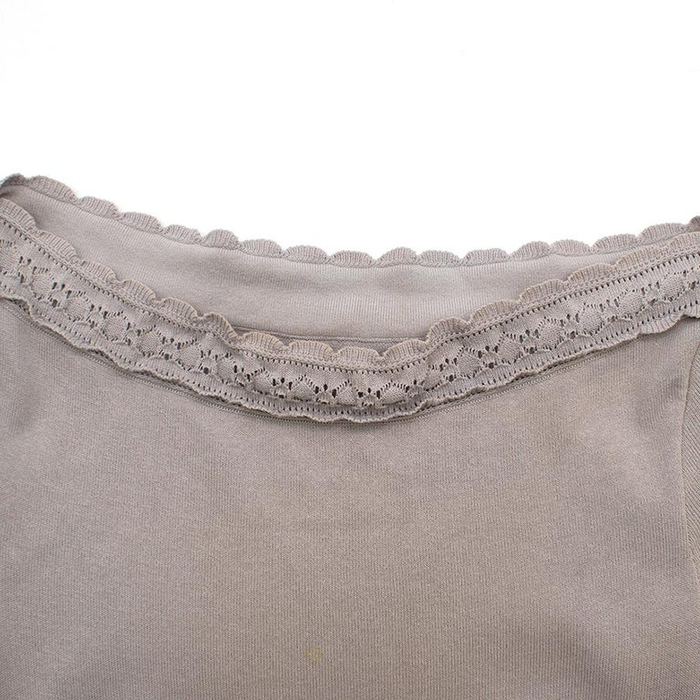 Women's Alaia Grey Fit & Flare Ruffle Trim Dress XS 36 For Sale