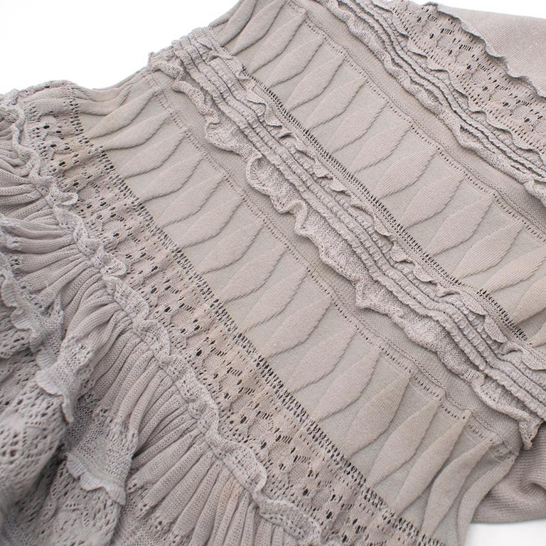 Alaia Grey Fit & Flare Ruffle Trim Dress XS 36 For Sale 2