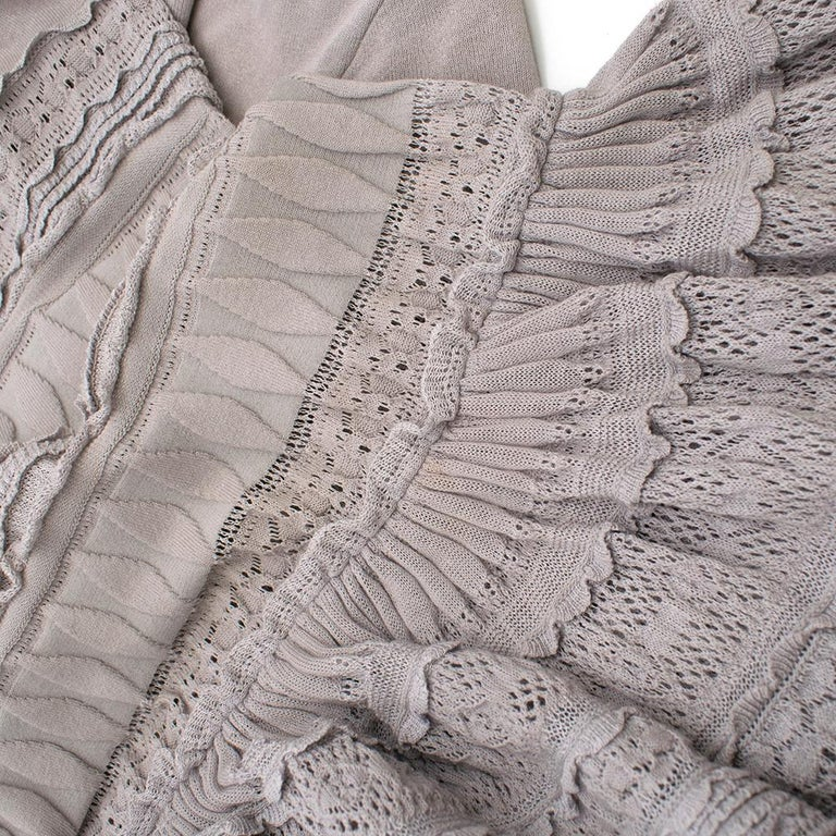 Alaia Grey Fit & Flare Ruffle Trim Dress XS 36 For Sale 3