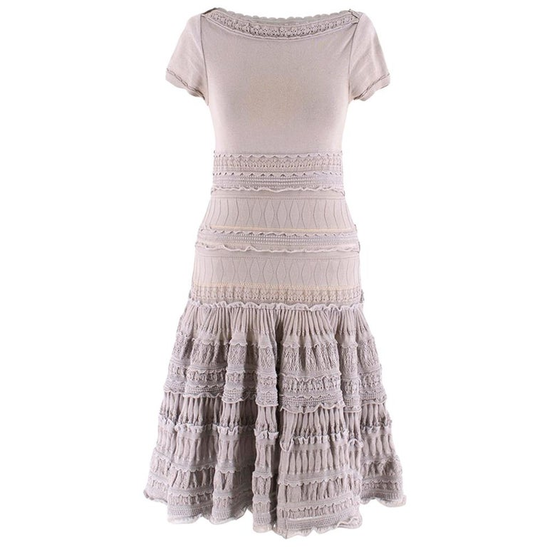Alaia Grey Fit & Flare Ruffle Trim Dress XS 36 For Sale