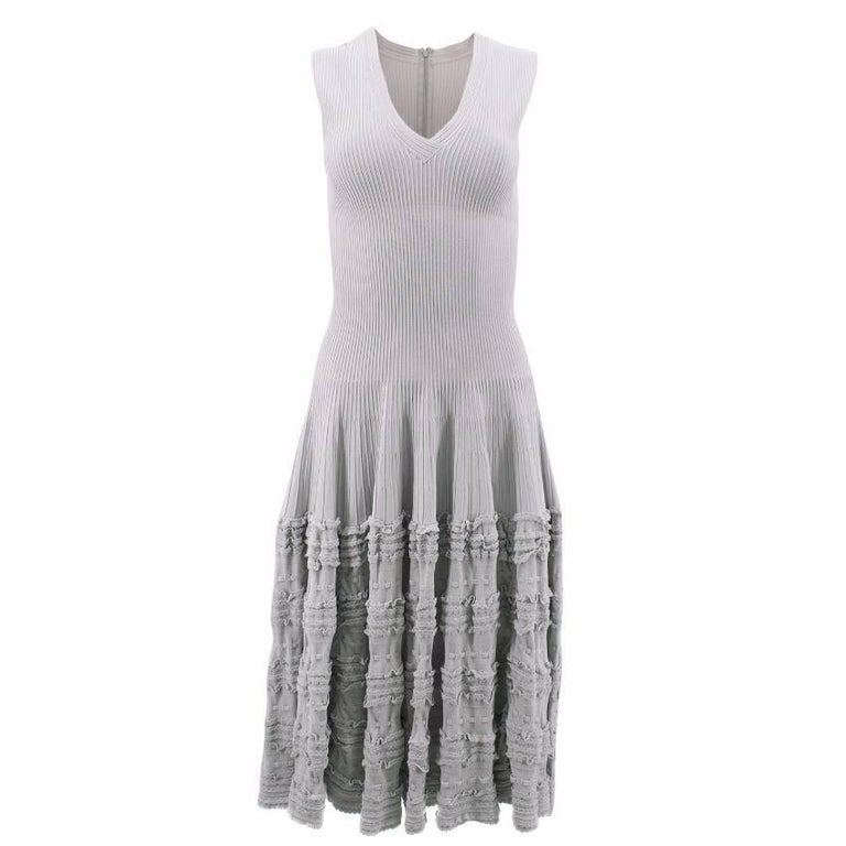 Alaia Grey Frilled Dress
