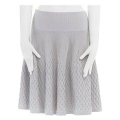 "ALAIA grey wool blend knitted pleated waffle hem flared skirt M 26"""