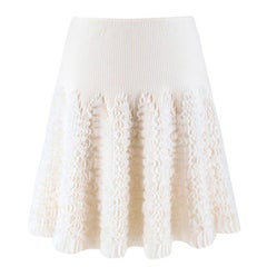 Alaia ivory ruffle-trimmed stretch-knit mini skirt US 6