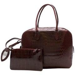 Alaia Maroon Crocodile Structured Business Bag