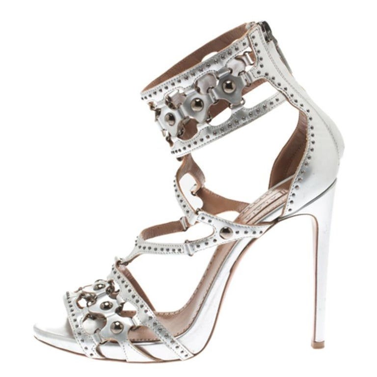 11908c5cd906e Alaia Metallic Silver Studded Leather Cutout Cage Sandals Size 38