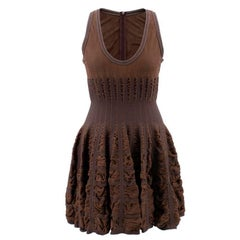 Alaia Mid-length Chocolate Brown Skater Dress  (Size: US 8/M)
