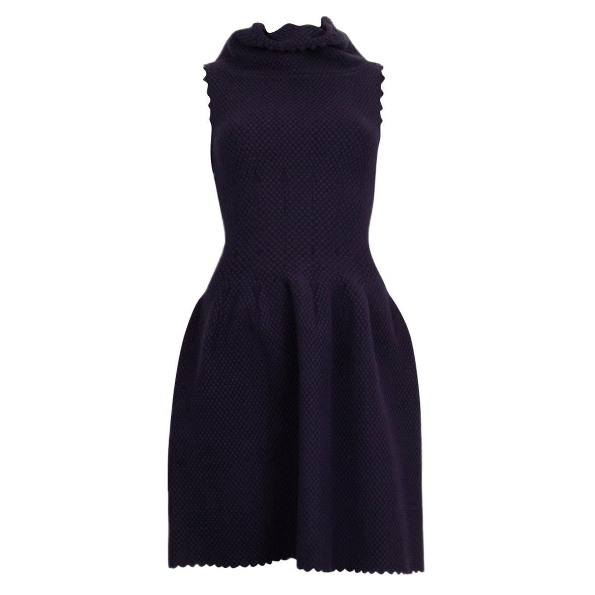 ALAIA midnight blue wool blend JACQUARD KNIT Flared Dress 44