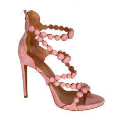 Alaia Mini Bomb Strappy Blush Suede Sandal Heels (41 EU)