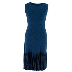 Alaia Navy Jacquard Sleeveless Dress XXS IT38