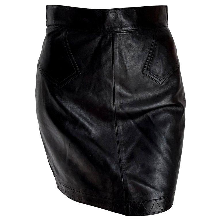 "ALAIA ""New"" Black Leather Mini Skirt - Unworn For Sale"