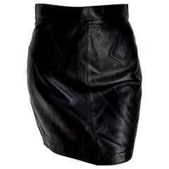 "ALAIA ""New"" Black Leather Mini Skirt - Unworn"