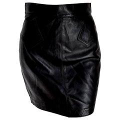 """ALAIA """"New"""" Black Leather Mini Skirt - Unworn"""