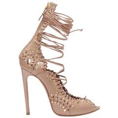 ALAIA nude leather gold stud embellished lace up high heel sandals EU37.5