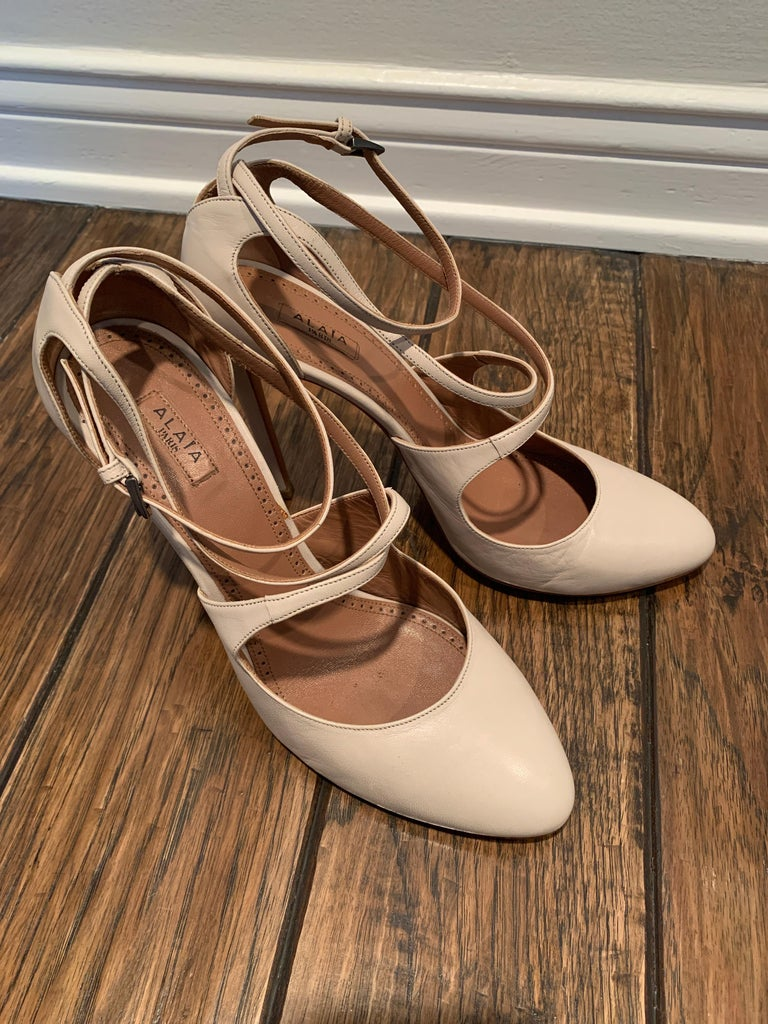 Alaia Classic Nude Mary-Jane Pumps.  Cross Strap around Ankle  Mint Condition  No signs of wear  Size 40.5