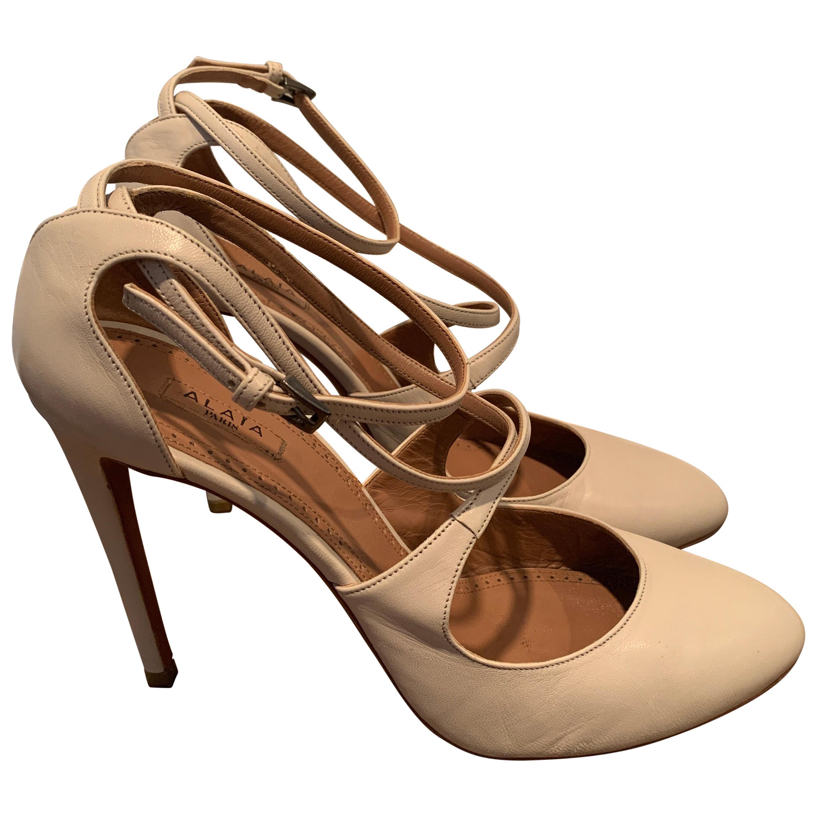 Alaia Nude Mary-jane Pumps Size 40.5