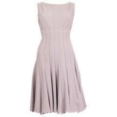 ALAIA pale pink viscose Sleeveless Flared Jacquard Knit Dress 42 L
