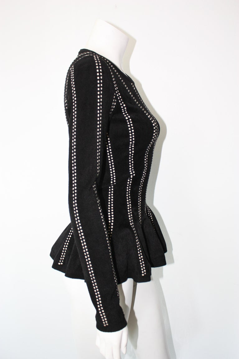 Women's Alaia Black and White Peplum Top Tags attached  For Sale