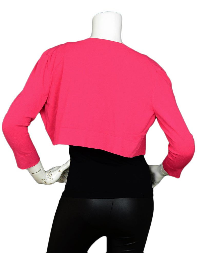 Alaia Pink Button Up Cropped Sweater sz FR44 In Excellent Condition For Sale In New York, NY