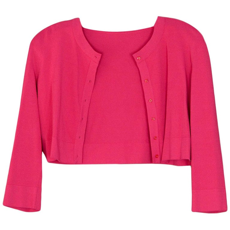 Alaia Pink Button Up Cropped Sweater sz FR44 For Sale