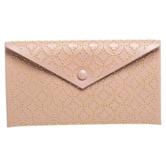 Alaia Pink Studded Leather Studded Envelope Clutch