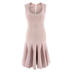 Alaia Pink & White Embroidered Knit Skater Dress 36