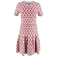Alaia Polka Dot Orchid Jacquard Knit Dress - Size US 10
