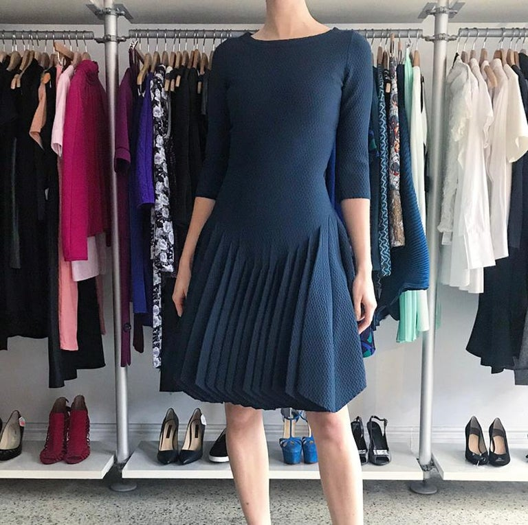Alaia Prussian Blue Stretch Knit Fit and Flare Dress - 38 In Excellent Condition For Sale In Toronto, ON