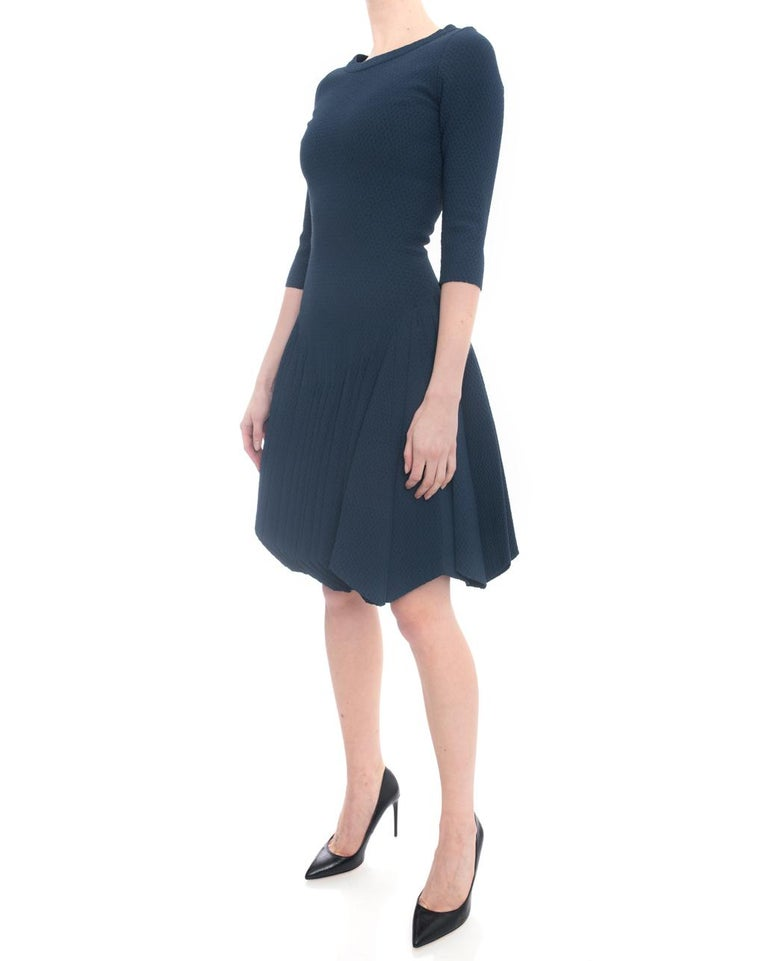 Alaia Prussian Blue Stretch Knit Fit and Flare Dress - 38 For Sale 1