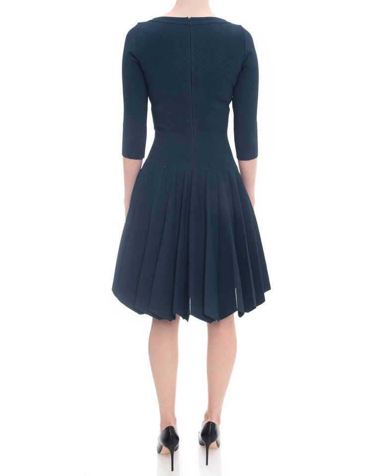 Alaia Prussian Blue Stretch Knit Fit and Flare Dress - 38 For Sale 2