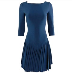 Alaia Prussian Blue Stretch Knit Fit and Flare Dress - 38