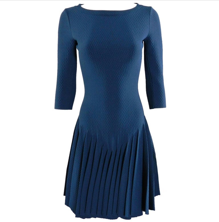 Alaia Prussian Blue Stretch Knit Fit and Flare Dress - 38 For Sale