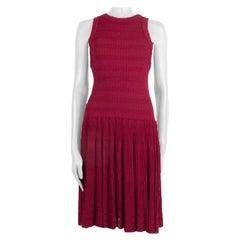ALAIA raspberry pink viscose GATHERED KNIT Flared Dress 44