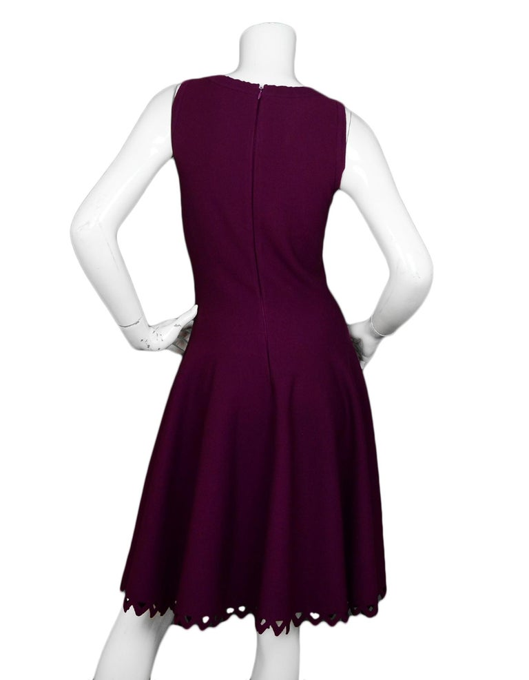 Black Alaia Raspberry Sleeveless Knit Flare Dress For Sale