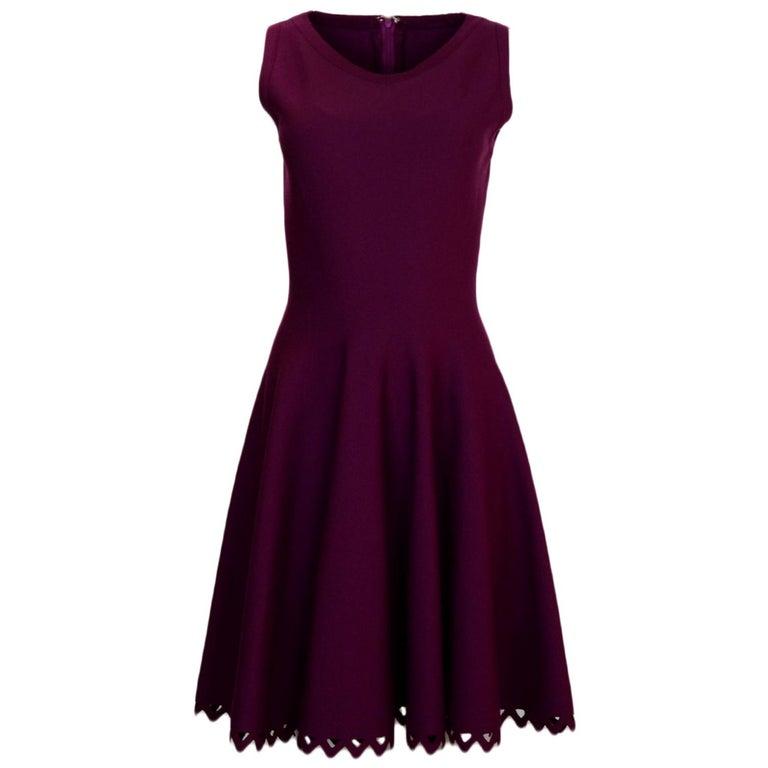 Alaia Raspberry Sleeveless Knit Flare Dress For Sale