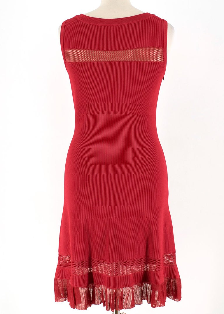 Alaia Red Fine Mesh Cut-Out Sleeveless Knit Dress IT 38 In Excellent Condition For Sale In London, GB
