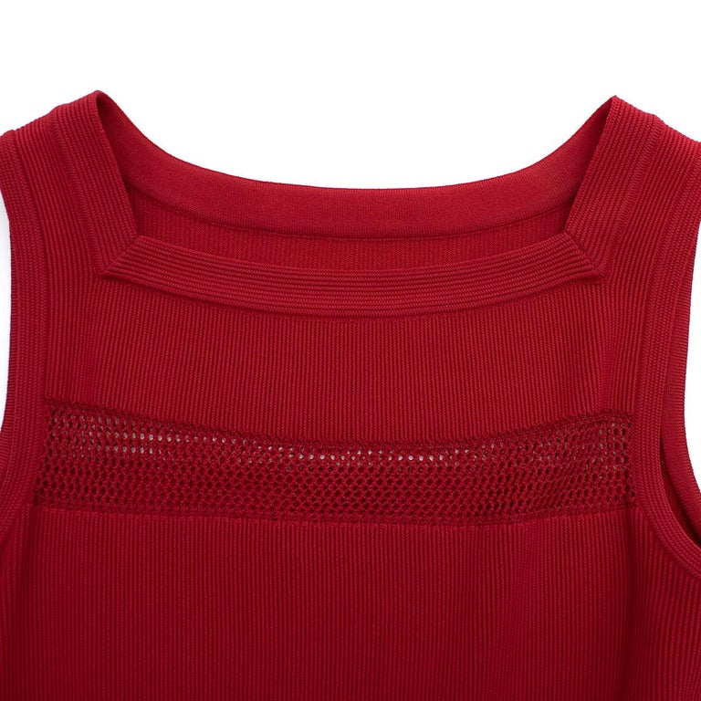 Women's Alaia Red Fine Mesh Cut-Out Sleeveless Knit Dress IT 38 For Sale