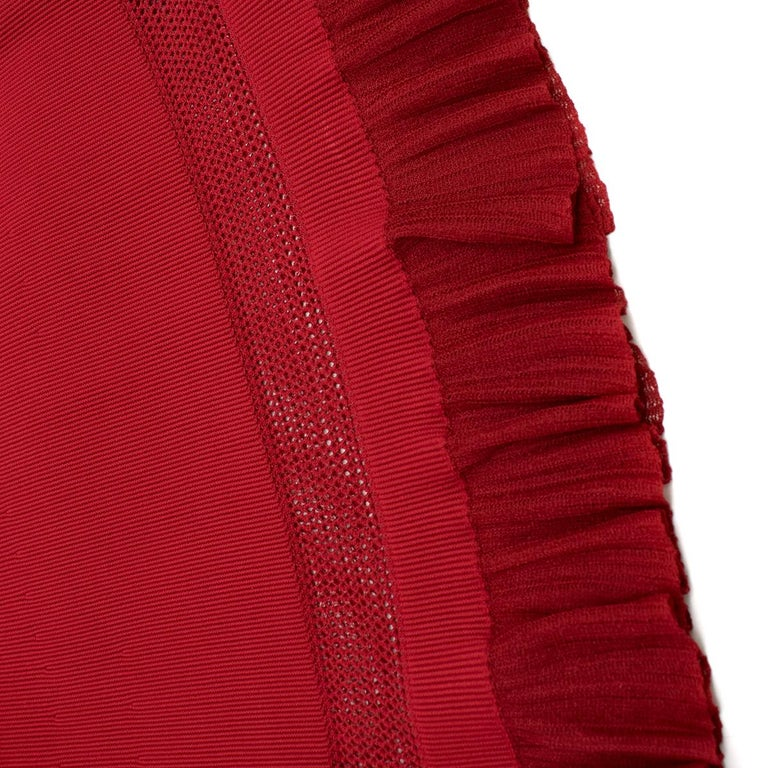 Alaia Red Fine Mesh Cut-Out Sleeveless Knit Dress IT 38 For Sale 3