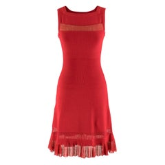 Alaia Red Fine Mesh Cut-Out Sleeveless Knit Dress IT 38